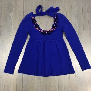Free People Royal Blue Long Sleeve Sequin Sweater